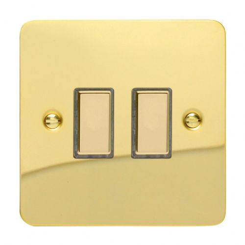 Varilight JFVES002 Ultraflat Polished Brass 2 Gang Touch Dimming Slave (use with V-Pro Master)